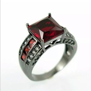 Jewelry - New hot red gem lady's CZ 10kt black gold filled